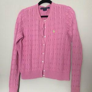 Ralph Lauren Sport pink cable knit cardigan